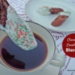 Chocolate Cranberry Biscotti - twice baked crunchy chocolate Italian biscuits studded with dried cranberry for dipping in coffee, latte, cappuccino, etc.