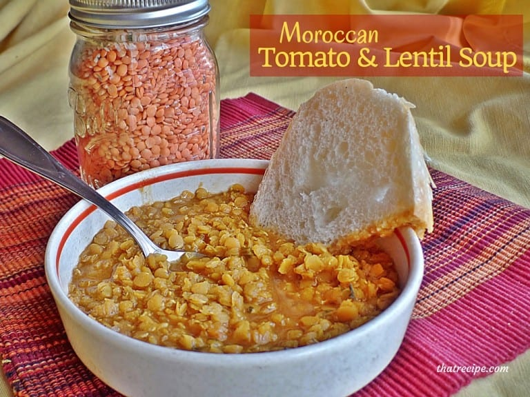 Moroccan Lentil and Tomato Soup - healthy lentil soup loaded with flavorful spices. Vegan, vegetarian, gluten free. gifts in jars.