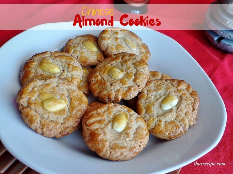 Chinese Almond Cookies - crispy crunchy cookies with an almond in the center found at many Chinese restaurants. Recipe adapted from Martin Yan.