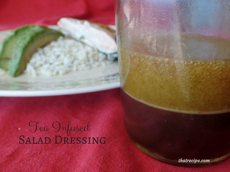 Tea Infused Salad Dressing - simple homemade vinaigrette flavored with your favorite tea. Inspired by Celestial Seasonings Raspberry Zinger Vinaigrette.