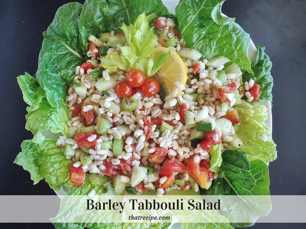 Barley Tabbouli (Tabbouleh) - middle eastern salad made with barley, tomatoes and cucumbers with a lemon mint vinaigrette.