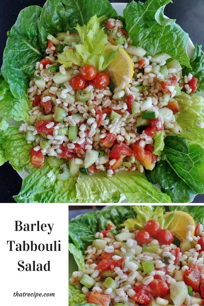 Barley Tabboulli (Tabbouleh) - middle eastern salad made with barley, tomatoes and cucumbers with a lemon mint vinaigrette.