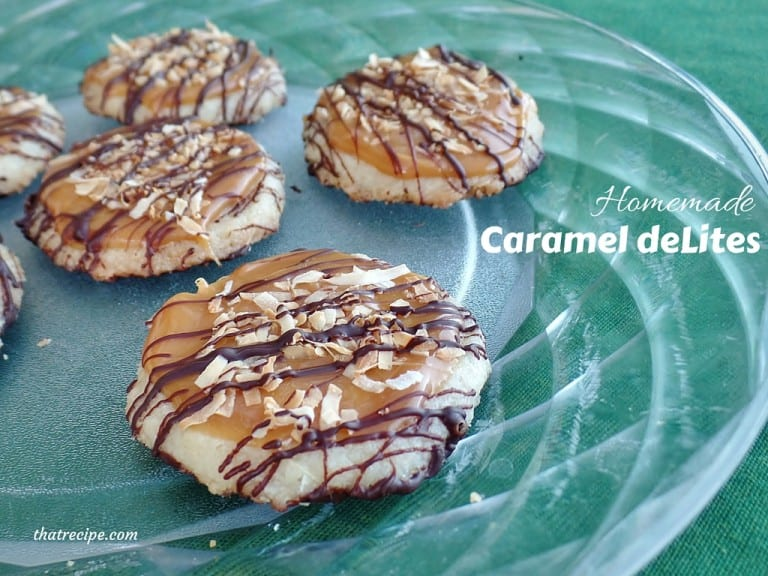Homemade Caramel DeLites (Samoas) - copycat Girl Scout Cookie recipe, chocolate coated, shortbread cookies topped with caramel and coconut.
