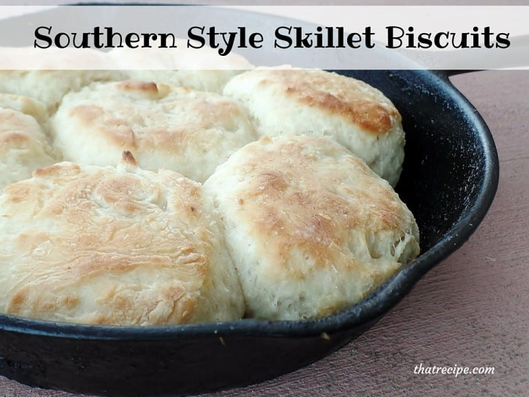 Southern Style Skillet Biscuits - buttermilk biscuits baked in a cast iron skillet and topped with bacon grease.