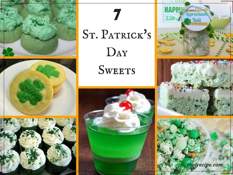 St Patrick's Day Desserts including cookies, cupcakes, gelatin, rice krispie treats, snack mix and more