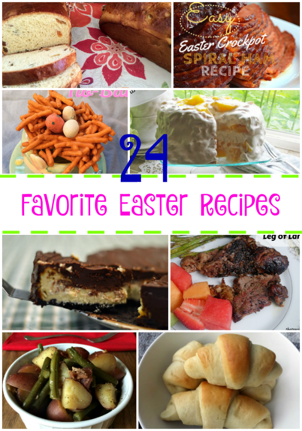 24 Easter Recipes Round Up - recipes for Easter Sunday including breakfast, breads, desserts, side dishes, ham, lamb.