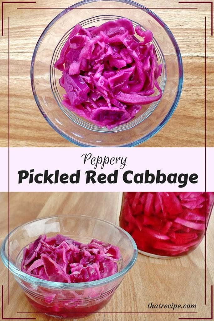 Peppery Pickled Red Cabbage - quick red cabbage salad or condiment in a sweet and peppery vinaigrette.