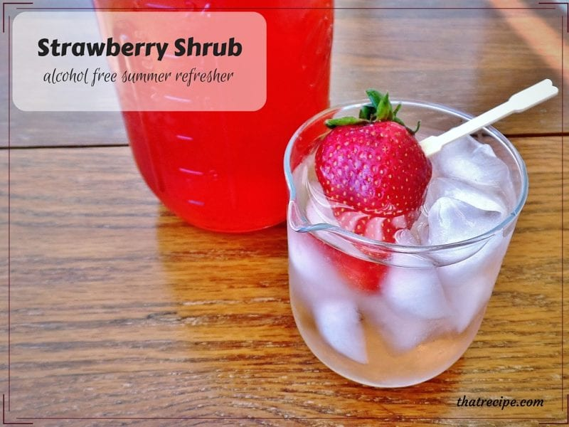 Strawberry Shrub - simple syrup of fruit, sugar and vinegar. Use to make a delightful summer drink, salad dressing or dessert topping.