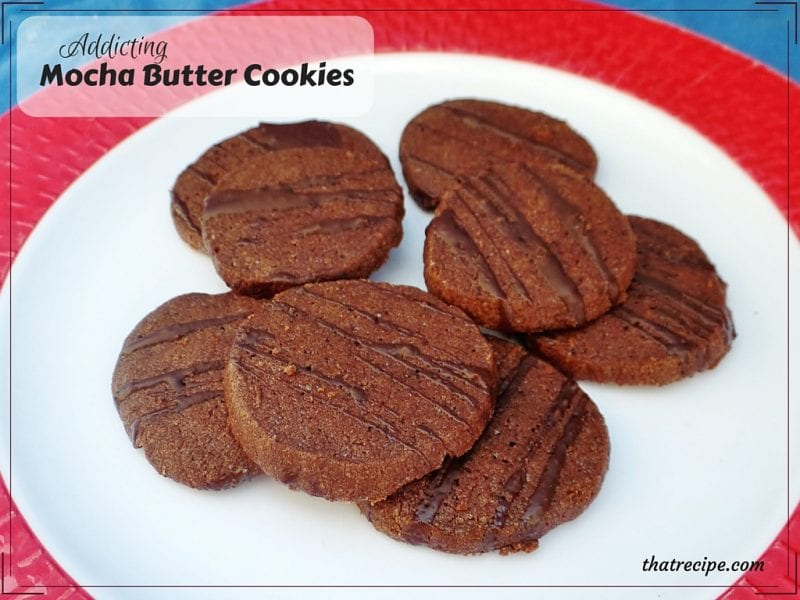 Mocha Butter Cookies - rich and crisp chocolate and coffee flavored cookies.