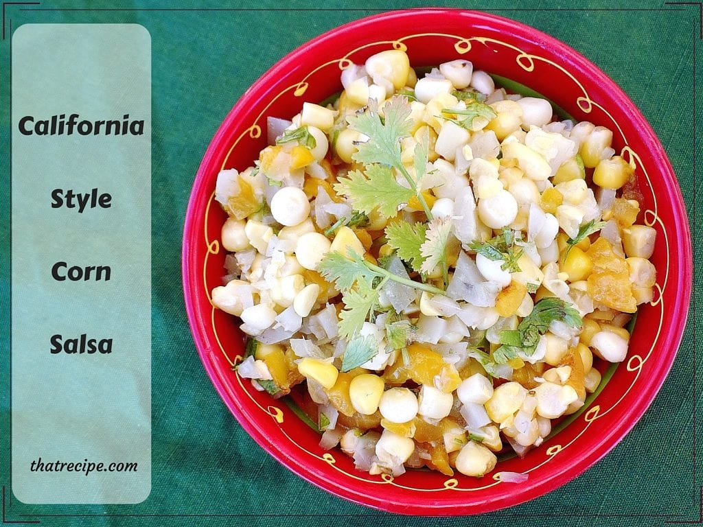 California Style Corn Salsa - Just a few simple ingredients mixed together, then chill and serve as a salsa or side dish. Corn, artichoke hearts, red peppers