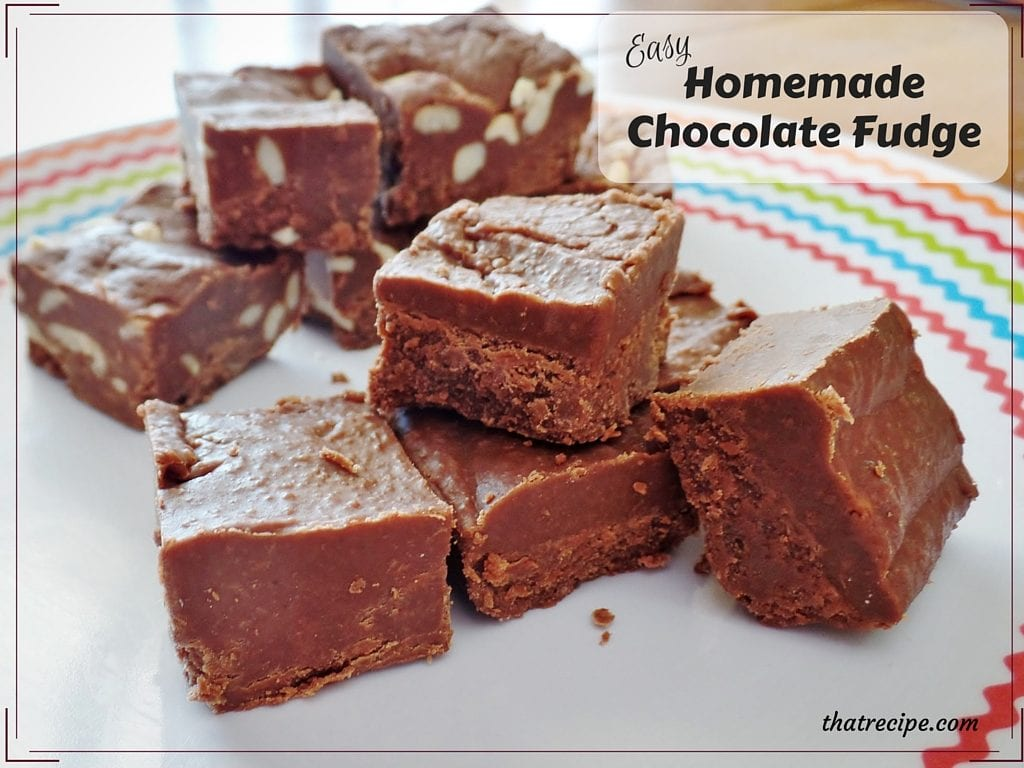 Easy Homemade Chocolate Fudge - four ingredient chocolate fudge cooks in five minutes.