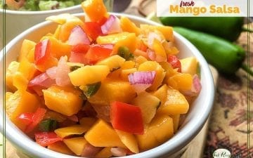 close up of mango salsa in a bowl