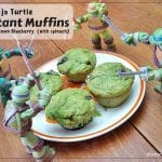 Mutant Muffins: Lemon Blueberry Muffins with Spinach - A low fat lemon blueberry muffin colored with spinach puree for your TMNT fan.