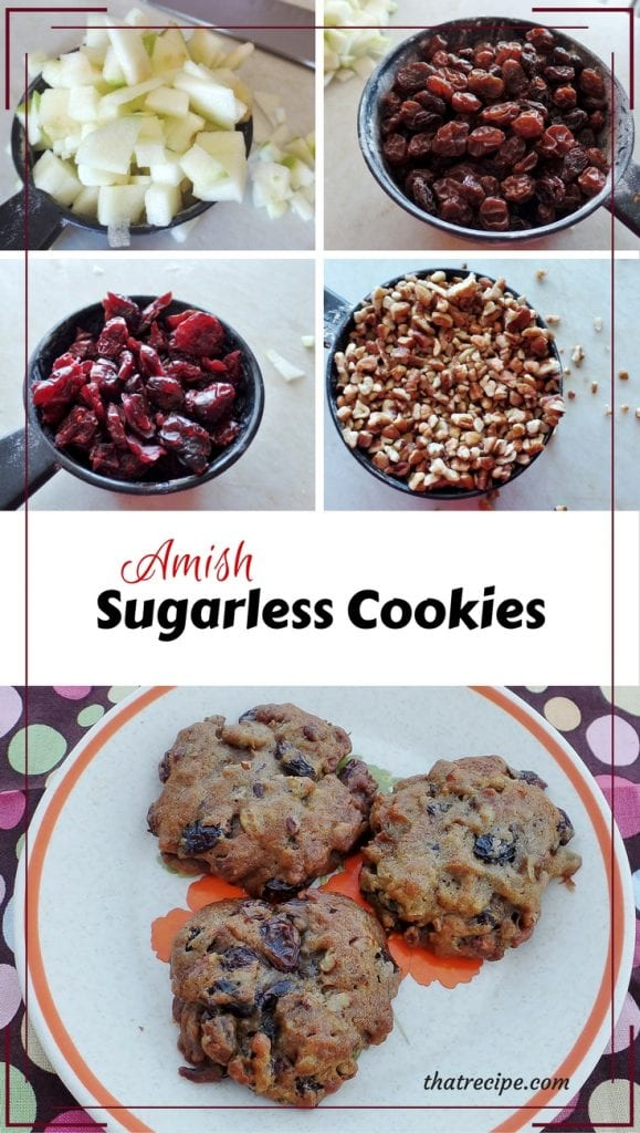 Amish Sugarless Cookies: cookies loaded with fruit and nuts instead of sugar. From Beverly Lewis Amish Heritage Cookbook. gluten free cookies