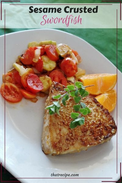 Sesame Crusted Swordfish - simple and delicious preparation for swordfish or other fish such as salmon or tuna. healthy eating, healthy fats, seafood