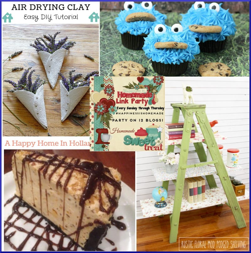Happiness is Homemade #134 - cookie monster cupcakes, ladder shelves, nutter butter cookie cheesecake and air dried clay flower holders