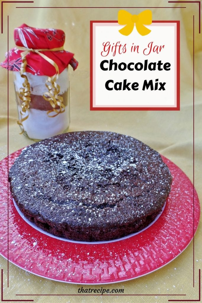 Deliciously Dark Chocolate Cake Mix in a Jar: dry chocolate cake mix packed in a quart mason jar perfect for gift giving. Printable recipe included.