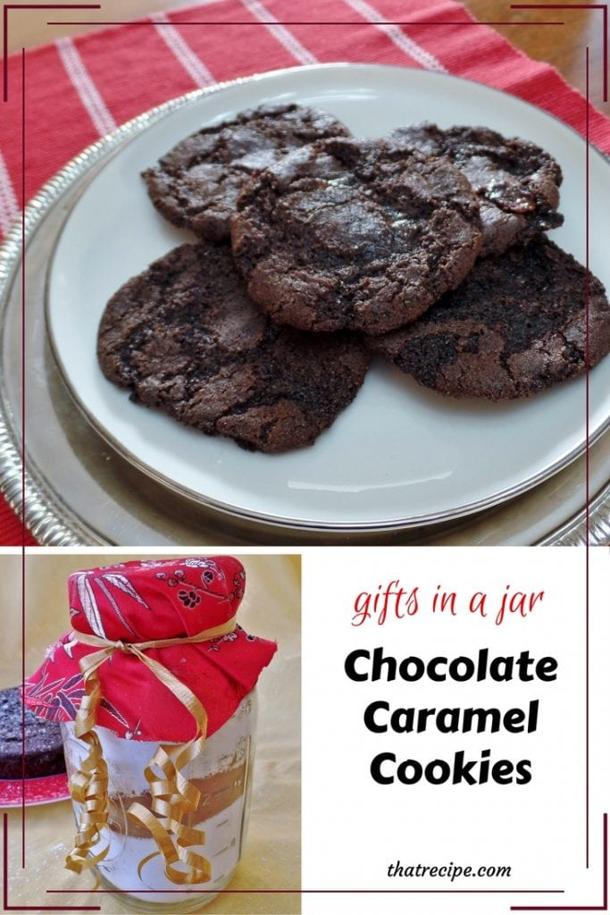 Gifts in a Jar: Chocolate Caramel Cookies - two different chocolate cookie recipes from a jar of homemade cake mix. Cookie Mix in a Jar.