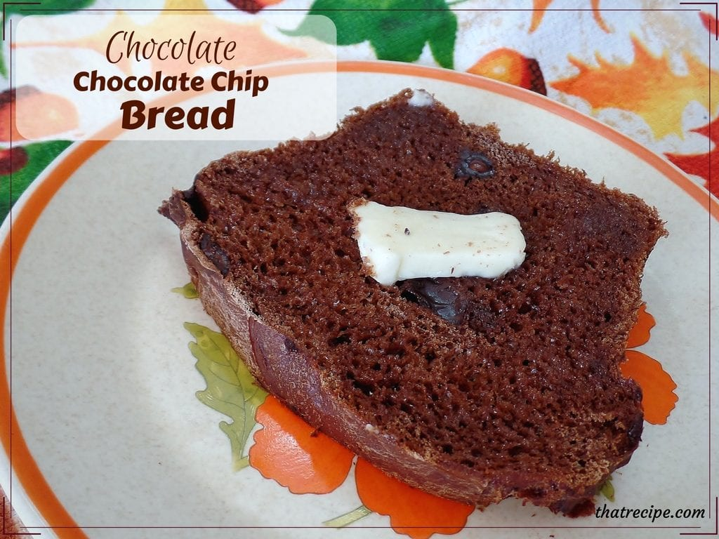 Chocolate Chocolate Chip Bread: yeast bread made with cocoa powder and studded with chocolate chips. Similar to Fleischmann's Chocolate Bunny Bread