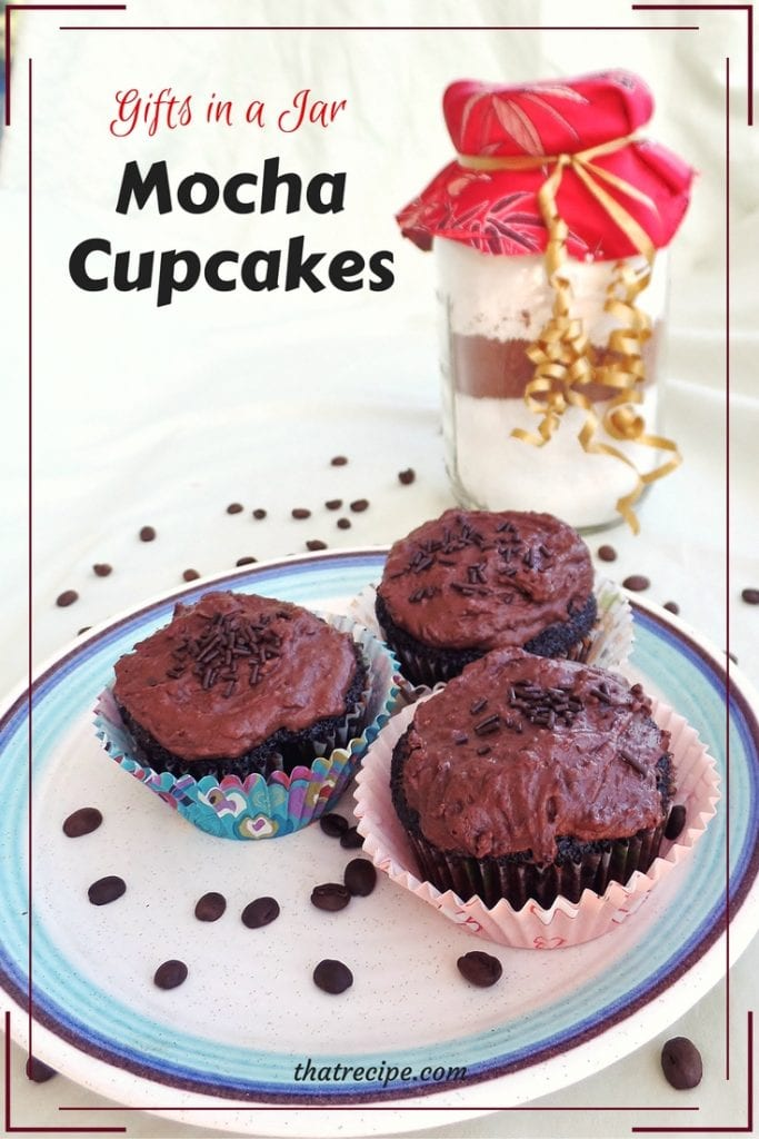 Gifts in a Jar: Mocha Cupcakes. Homemade chocolate cake mix recipe made with coffee make delicious moist mocha cake.