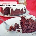 Gifts in a Jar: Red Velvet Bundt Cake. Chocolate Cake made with beets and buttermilk topped with cream cheese glaze. No food coloring.