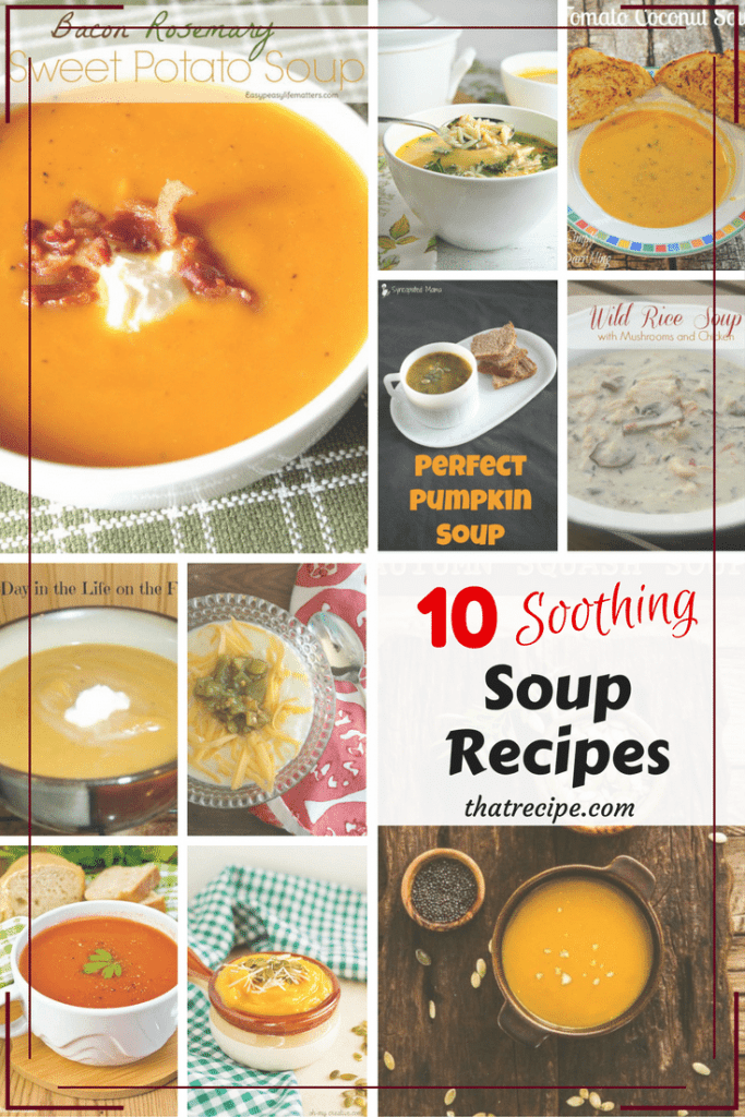 10 Soothing Soup Recipes - soups to make when it is cold outside or you have a cold.
