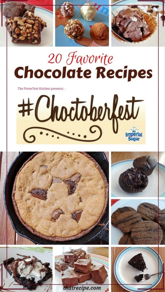 Choctoberfest: 20 of our favorite Chocolate Recipes including cookies, cakes, candy, ice cream, donuts, brownies and more. Plus giveaway