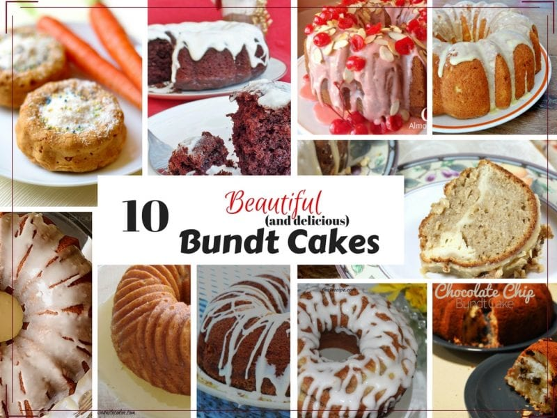 10 delicious Bundt Cake recipe for any occasion: red velvet cake, coffee cake, lemon cake, carrot cake, pumpkin spice cake, and more.