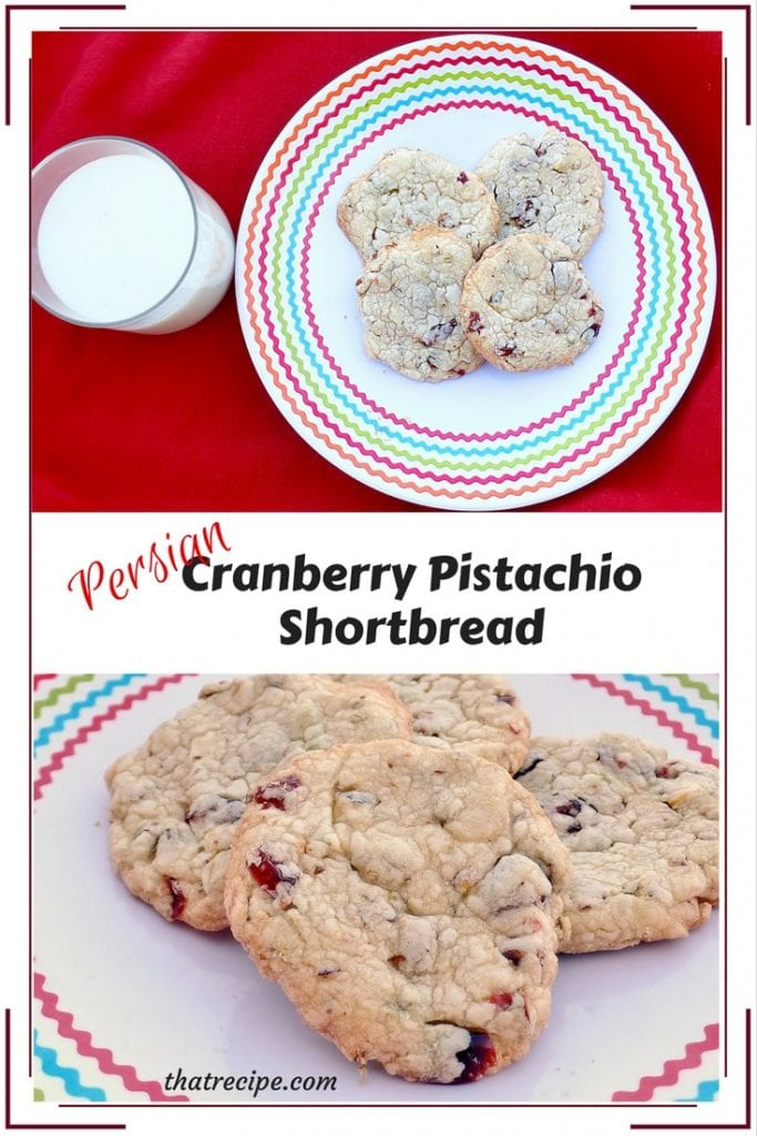 Persian Cranberry Pistachio Shortbread: crunchy buttery cookies studded with dried cranberries and chopped pistachio nuts.