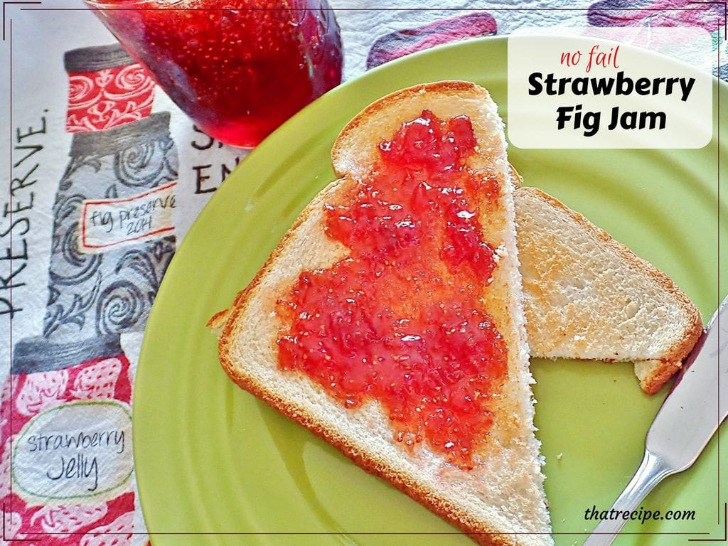 Amazing No Fail Strawberry Fig Jam: easy jam recipe made with fresh figs and strawberry gelatin.
