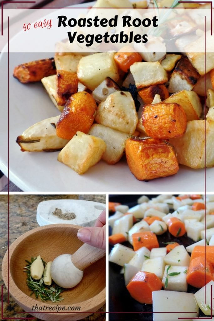 Roasted Root Vegetables: This simple side dish of roasted root vegetables (carrots, turnips, potatoes, etc.) tossed with fresh herbs is sure to please.