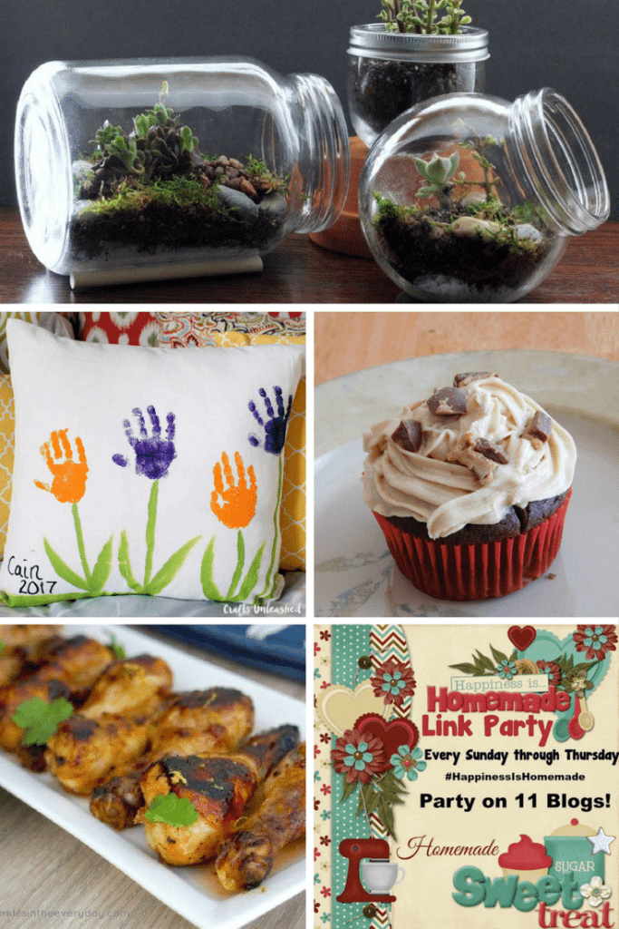 Happiness is Homemade features: Handprint Flower Pillow, Chicken drumsticks with Plum Sauce, Chocolate Peanut Butter Cupcakes and DIY Terarriums