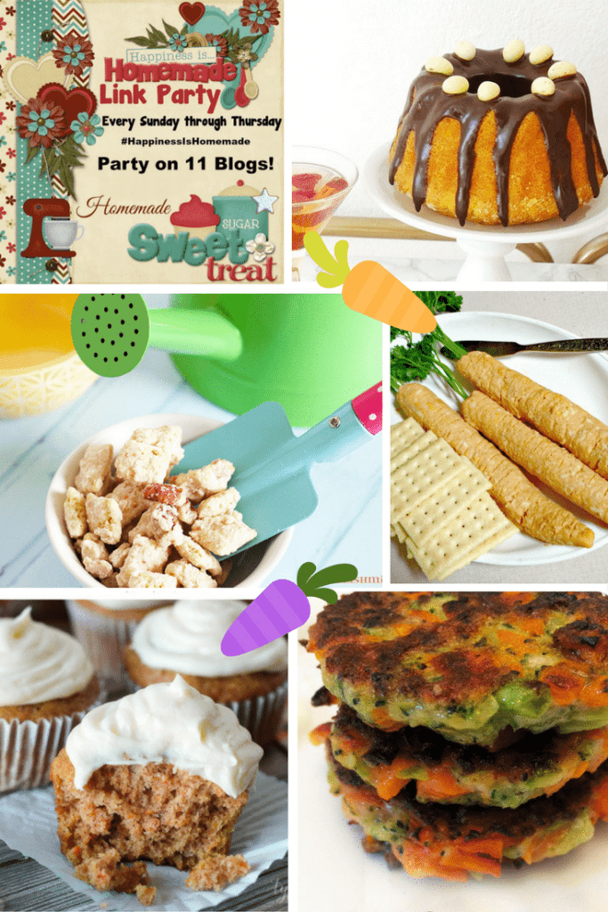 Happiness is Homemade Blog Party features: Brazilian Carrot Cake, Carrot Cake Cupcakes, Carrot Cake Muddy Buddies, Carrot and Broccoli Fritters and Easy Cheesy Easter Carrots..