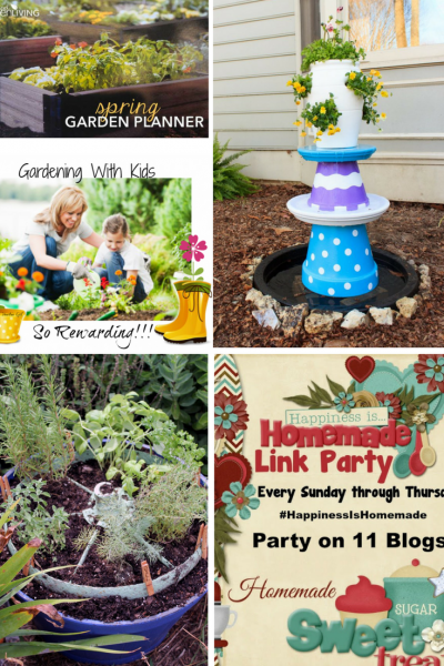 Happiness is Homemade gardening features: DIY Water FOuntain, gardening with Kids, Herb Garden in a wheel, Spring Garden Planner.