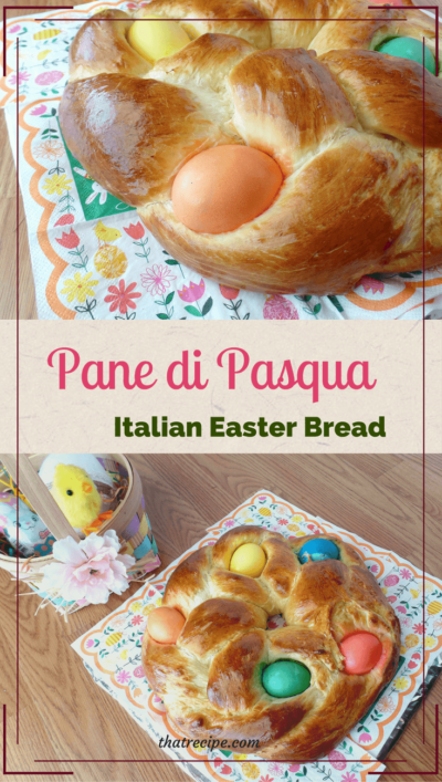 Pane di Pasqua, Italian Easter Bread, is a fluffy sweet bread traditionally in a wreath shape with brightly colored eggs baked inside.
