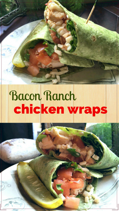 Quick and Healthy Bacon Ranch Chicken Wraps: made with leftover chicken, these wraps are great for those too hot or too busy to cook nights.