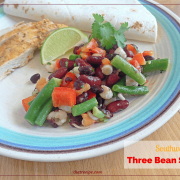 Three Bean Salad with black beans and hominy