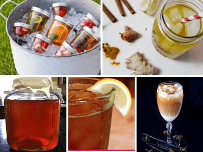15 unique and delicious iced tea recipes, fruit flavored iced teas, flower flavored iced teas, herbal iced teas.