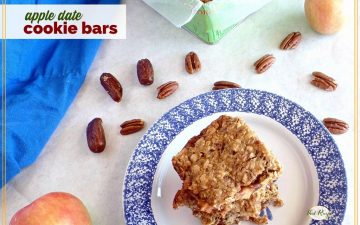 """oatmeal bars on a plate with text overlay """"apple date cookie bars"""""""