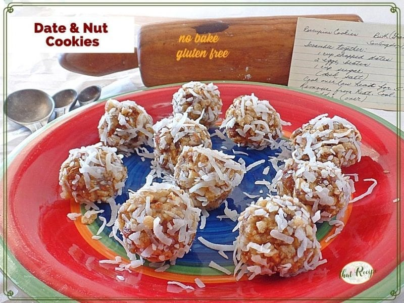 """close up view of cookies on a plate with text overlay """"No Bake Date and Nut Cookies"""""""