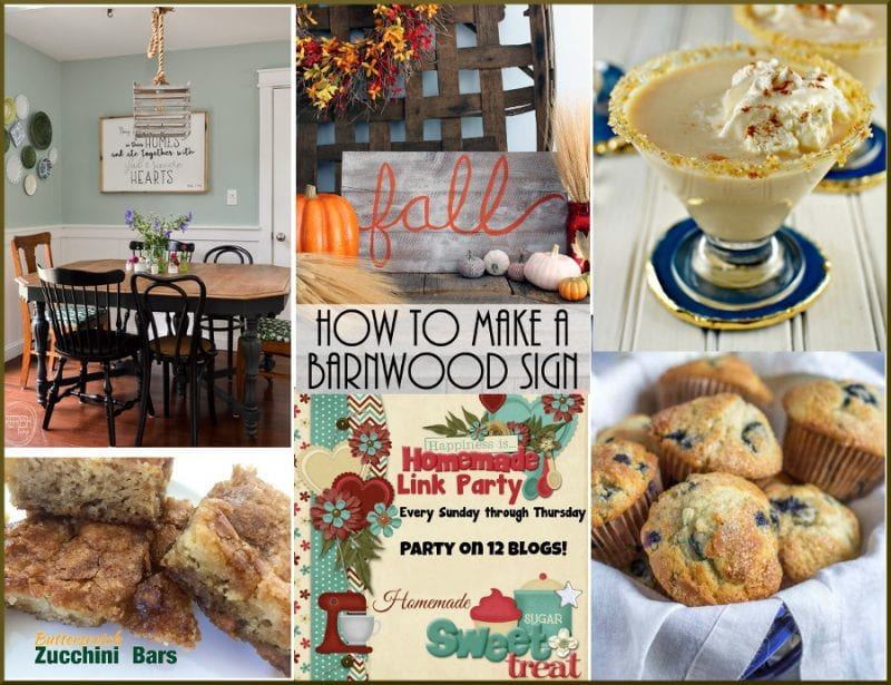 Happiness is Homemade features: zucchini bars, muffin recipes, creme brulee martini, fall barnwood sign, farmhouse light fixture
