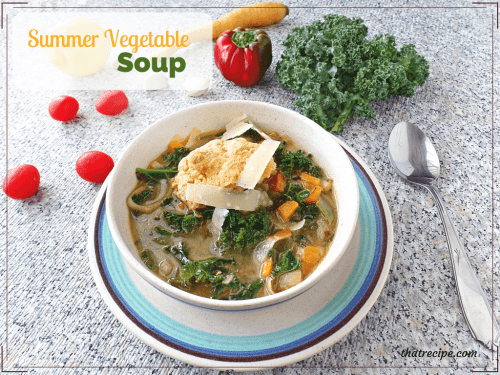 Summer Vegetable Soup in a bowl with text overlay