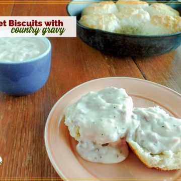 country gravy and biscuits on a plate