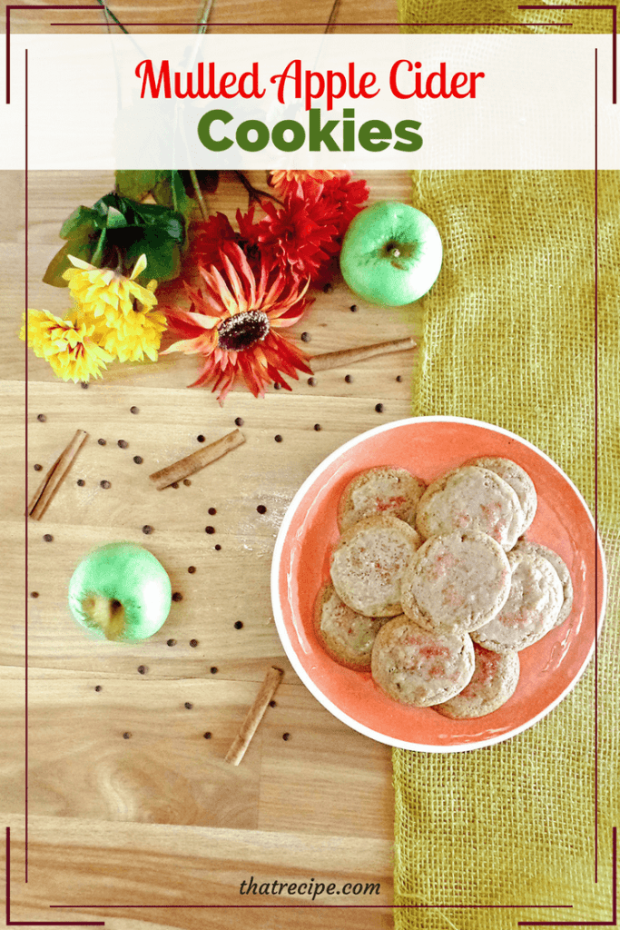 plate of mulled apple cider cookies with text overlay