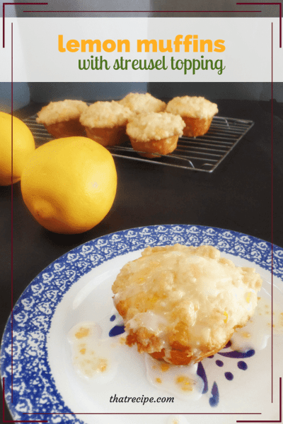 Lemon Streusel Muffins on a plate with text overlay