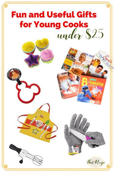 Do you know toddlers, preschoolers or elementary age children that love to cook. Here are some practical and fun gifts for young cooks under $25. #kidsgifts #kidscooking