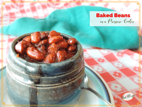 Rich and Hearty Baked Beans made faster in a pressure cooker. Perfect for winter meals or serve alongside your favorite barbecue in summer. #recipe #beans
