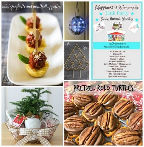 Happiness is Homemade features: pretzel turtles, spaghetti appetizers, Christmas decorations, winter gift basket ideas