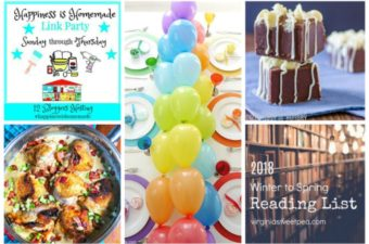 Collage of chicken in askillet, rainbow party, kahlua fudge and books