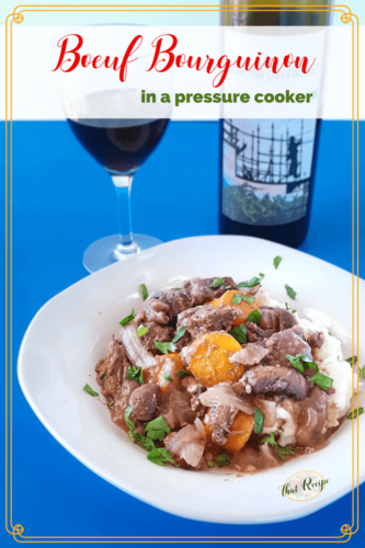 plate of beef burgundy. wine glass and bottle with text overlay